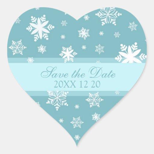 Los copos de nieve ahorran a los pegatinas del bod pegatina de corazón