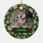 Los copos de nieve de Forest Green personalizaron  Ornamento Para Arbol De Navidad