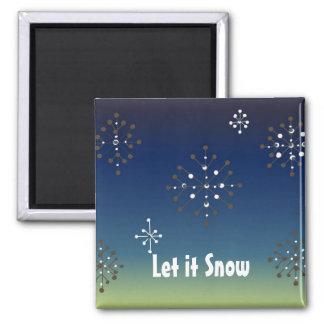 Los copos de nieve - déjelo nevar imán cuadrado