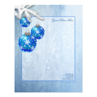 Los copos de nieve en azul adornan a Frost Membrete Personalizado