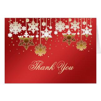 Los copos de nieve en casarse rojo del navidad le tarjeta pequeña