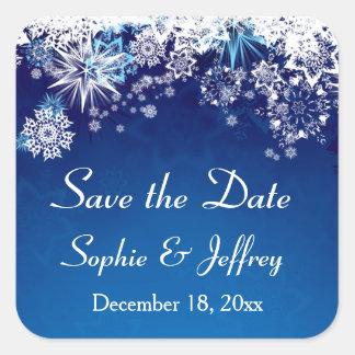 Los copos de nieve en el boda azul ahorran la pegatina cuadrada