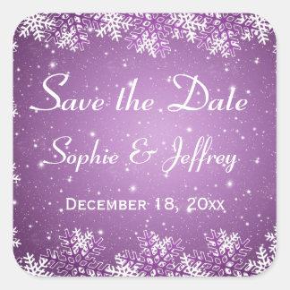 Los copos de nieve en el boda púrpura ahorran la pegatina cuadradas