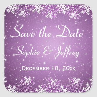 Los copos de nieve en el boda púrpura ahorran la pegatina cuadrada