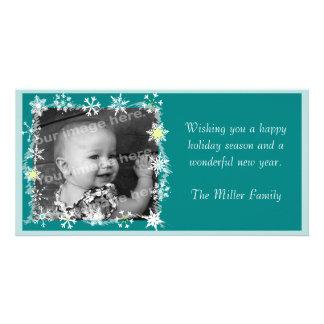 Los copos de nieve enmarcaron la tarjeta de la fot tarjetas personales con fotos