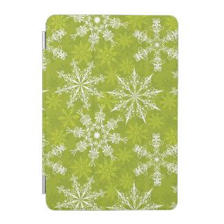 Los copos de nieve modelan en verde cover de iPad mini
