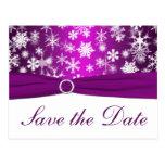 Los copos de nieve púrpuras y blancos ahorran la p tarjetas postales