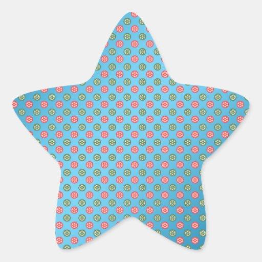 Los copos de nieve verdes rojos en azul se pegatinas forma de estrellaes personalizadas