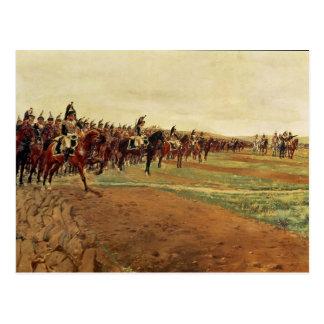 Los coraceros antes de su carga en la batalla tarjeta postal