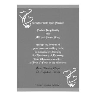 Los corazones 2 de la invitación 2 del boda suenan
