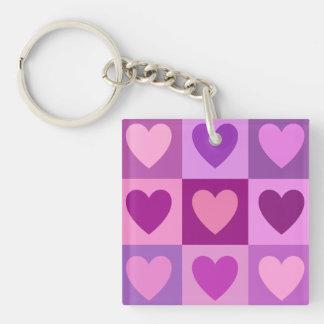 Los corazones 3x3 pican colores de malva de las llavero cuadrado acrílico a doble cara