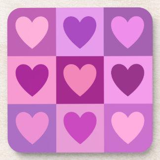 Los corazones 3x3 pican colores de malva de las posavasos para bebidas