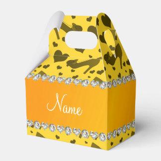 Los corazones amarillos conocidos personalizados cajas para detalles de boda