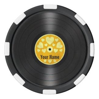 Los corazones amarillos personalizaron el álbum de juego de fichas de póquer