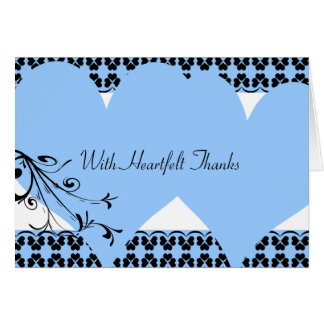 Los corazones azules sentidos le agradecen cardar tarjeta pequeña