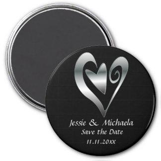 Los corazones de la bodas de plata en negro ahorra iman de nevera