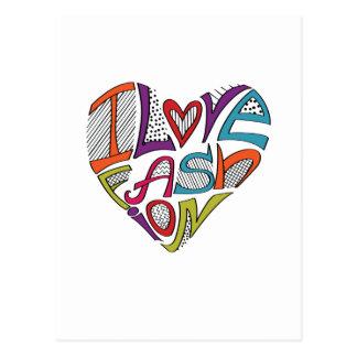 """Los corazones de palabras """"amo la moda """" postal"""
