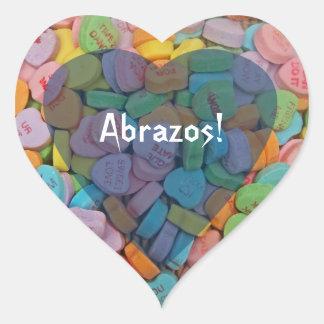 Los corazones del Abrazos-Caramelo - dígalo en esp Pegatina Corazón