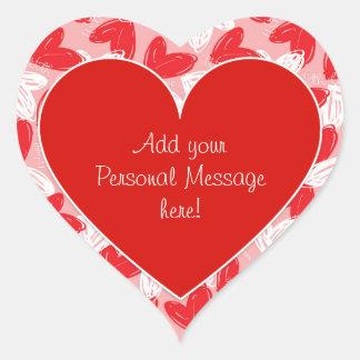 Los corazones del amor de la tarjeta del día de pegatina en forma de corazón