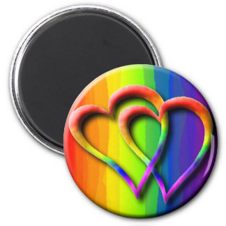Los corazones del arco iris del orgullo gay imán redondo 5 cm