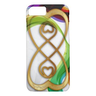Los corazones del oro doblan el infinito y los funda iPhone 7