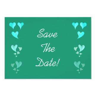 """Los corazones del verde esmeralda ahorran la fecha invitación 5"""" x 7"""""""