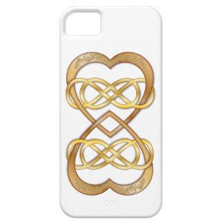 Los corazones entrelazados doblan infinito en el o iPhone 5 protector