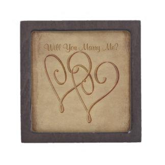 Los corazones entrelazados me casan caja de regalo caja de recuerdo de calidad