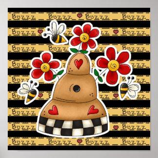 Los corazones felices N florecen la colmena de la  Poster