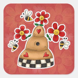 Los corazones felices N florecen la colmena de la Pegatina Cuadrada