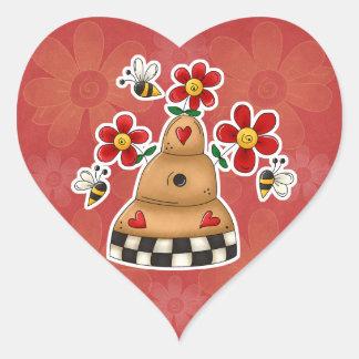 Los corazones felices N florecen la colmena de la Pegatina En Forma De Corazón