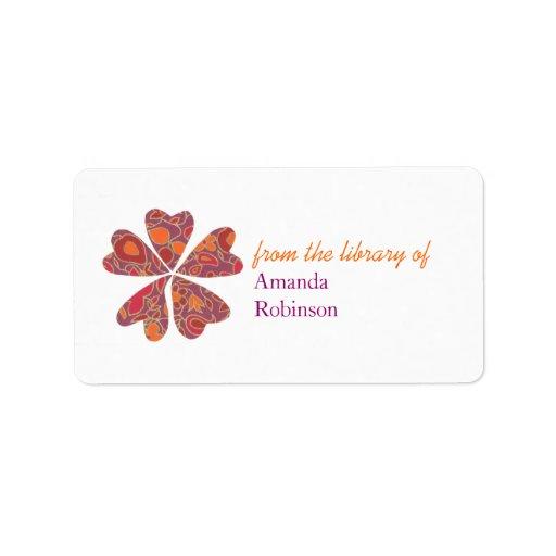 Los corazones florecientes personalizaron el bookp etiqueta de dirección
