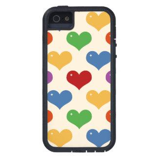 Los corazones multi de la burbuja del arco iris re iPhone 5 carcasas