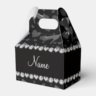 Los corazones negros conocidos personalizados cajas para detalles de boda