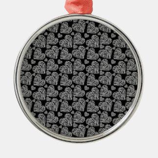 Los corazones negros hermosos elegantes crean para ornamento para arbol de navidad