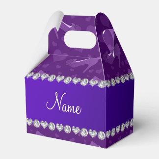 Los corazones púrpuras conocidos personalizados cajas para detalles de boda