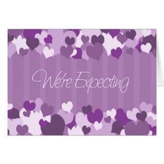 Los corazones púrpuras estamos contando con la tar tarjeta de felicitación