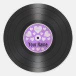 Los corazones púrpuras personalizaron el álbum de pegatina redonda