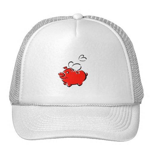 Los corazones rojos del piggie vuelan diseño del a gorro de camionero