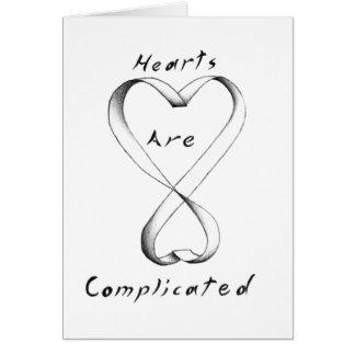 Los corazones son complicados tarjeta de felicitación