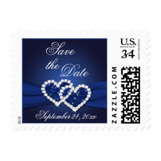 Los corazones unidos azul del zafiro ahorran el franqueo