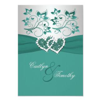 Los corazones unidos plata IMPRESOS del trullo de Invitación Personalizada