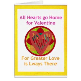 Los corazones van a casa para la tarjeta del día
