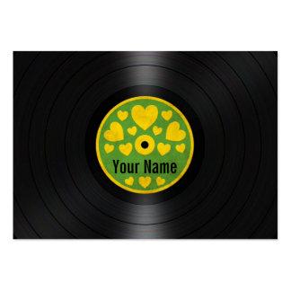 Los corazones verdes y amarillos personalizaron el plantillas de tarjeta de negocio