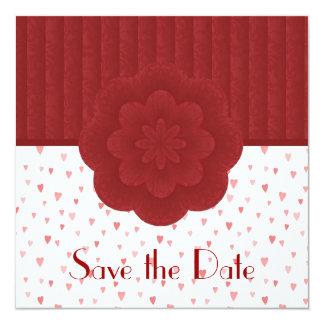 """Los corazones y el damasco rojo ahorran la invitación 5.25"""" x 5.25"""""""