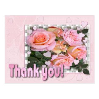 Los corazones y los rosas le agradecen postal