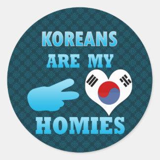 Los coreanos son mi Homies Pegatina Redonda
