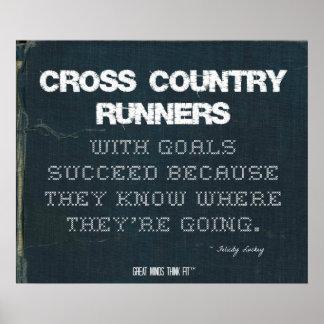 Los corredores del campo a través con metas tienen impresiones