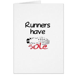 Los corredores tienen lenguado tarjeta de felicitación