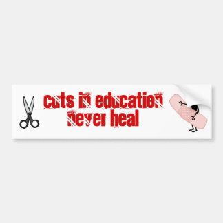 los cortes en la educación nunca curan pegatina para auto
